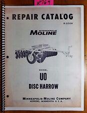 Minneapolis Moline Uo U0 Disc Harrow Repair Parts Catalog Manual R 2028