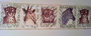 Jungle-Safari-Zoo-Leopard-Tiger-Zebra-Giraffe-Playroom-Wallpaper-Border-SALE