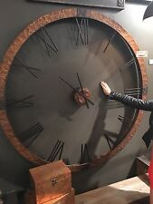 "HUGE 60"" HAMMERED COPPER SHEETING GRAY WASH ROUND WALL CLOCK  ROMAN NUMBERS"