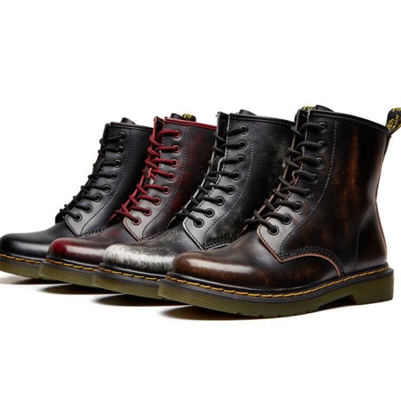 Women Ladies Vintage Retro Chunky Flat Lace Up Punk Biker Ankle Boots Shoes B985