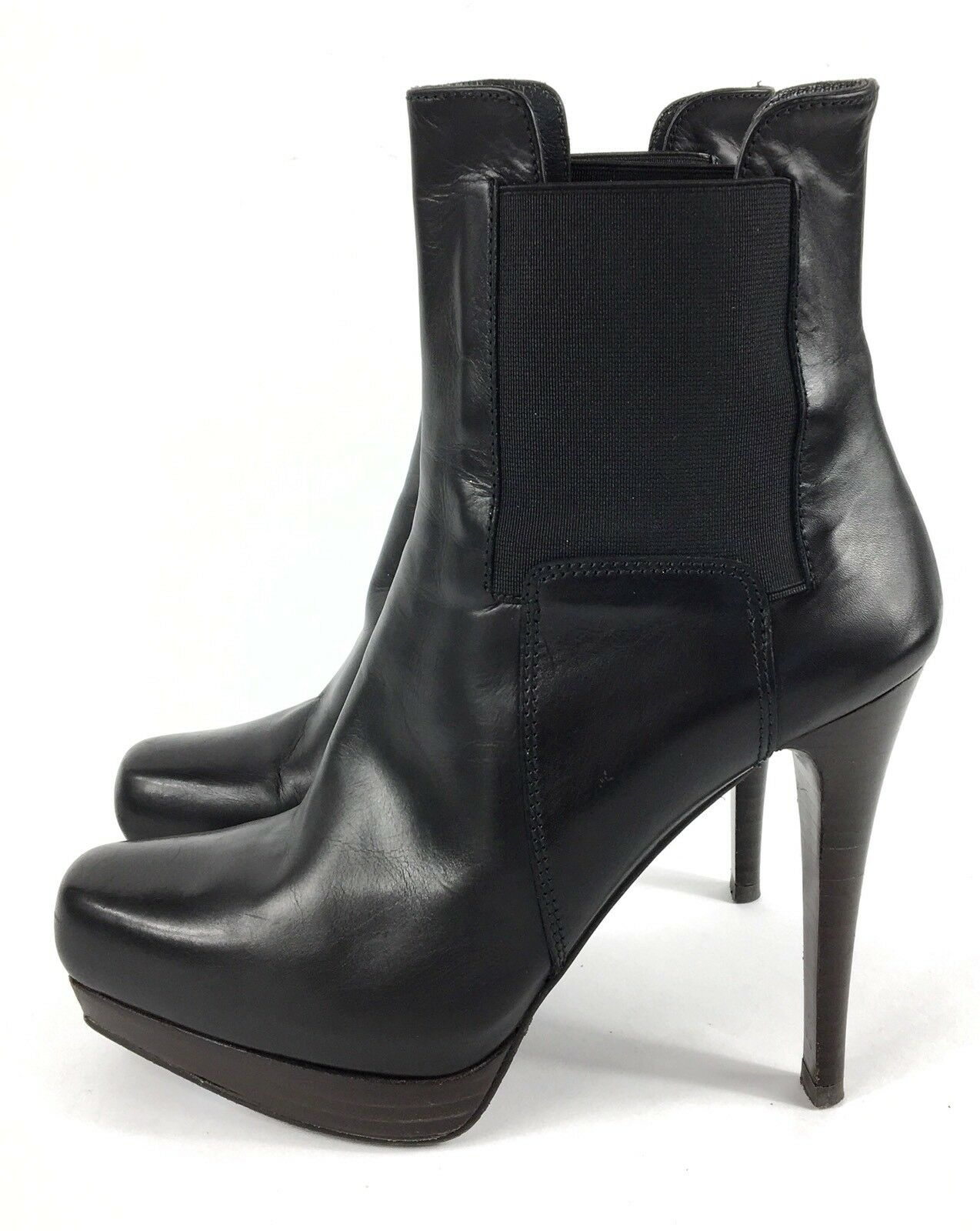 Size 6.5 Stuart Weitzman Black Leather Platform Bootie Wood Heel Stiletto  595