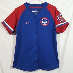 best service e9bc6 39191 Details about Women's NIKE Chicago Cubs Jersey Style Shirt Red Blue Cubbie  Bear Logo Patch M-L