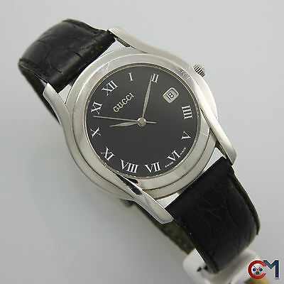 4b220ea1cba 35mm GUCCI 5500M Mens Sapphire Crystal Black Dial w  Date Swiss Watch