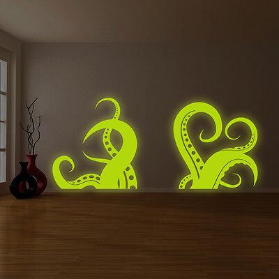 Glowing Vinyl Wall Bath Decal Amazing Octopus Tentacle, Sea Creature Sticker