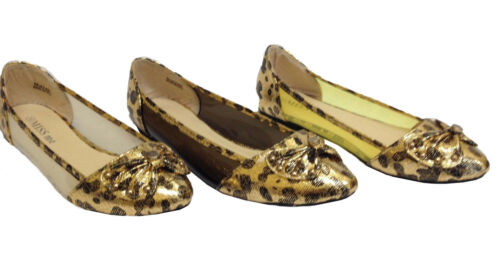 New Ladies Womens Flat Transparent Pumps Ballerina Dolly Shoes Animal Print Size