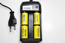 CHARGEUR RS08 + 4 BATTERIE PILE 16340 CR123 2500mAh RECHARGEABLE 3.7V ION ACCU