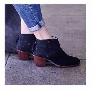 820adfd8fd9 NEW 99 Toms Leila Black Suede   Dotted Wool Ankle Boots Style ...