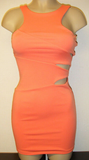 CORAL BODYCON DRESS SIZE 6 MISS SELFRIDGE CUT OUT ORANGE BANDAGE PARTY NEW