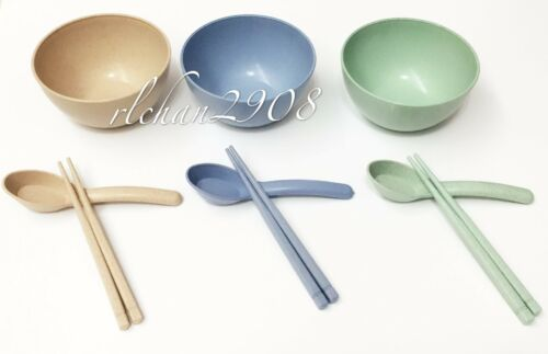 ECO Nature Degradable Wheat Straw Flatware Tableware Set Bowls Chopsticks Spoons