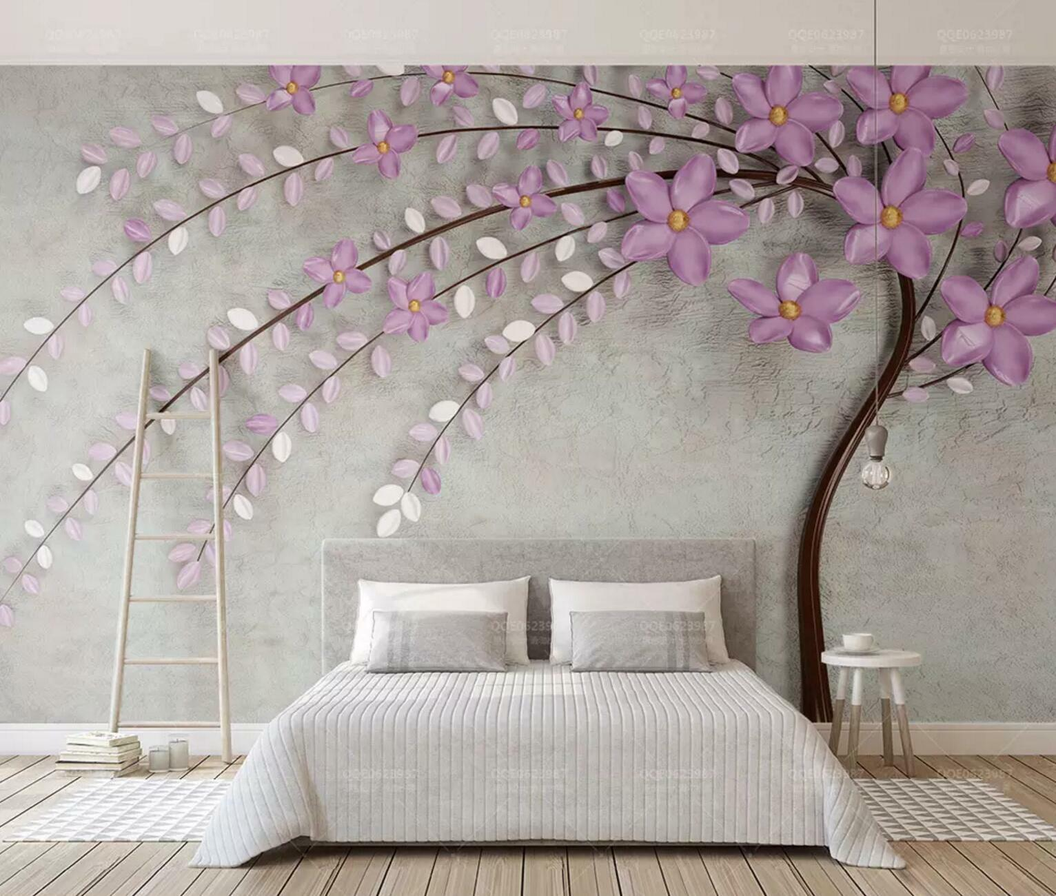 3D lila Leaf Tree 5 Wall Paper Exclusive MXY Wallpaper Mural Decal Indoor wall
