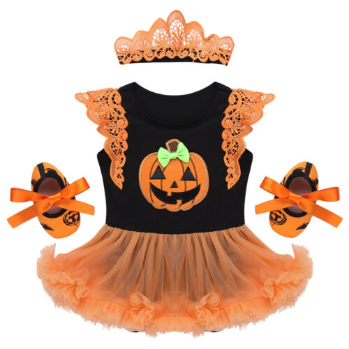 Newborn Infant Baby Girls 1ST Halloween Romper Tutu Dress Pumpkin Outfit Costume