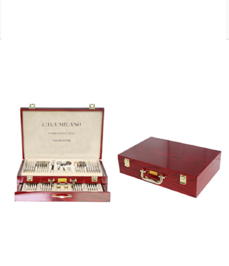 Casa Milano Greek Key Deco 72 pcs Flatware  Set Two Tone Gold - Service for 12