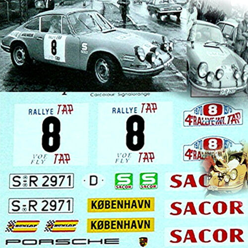 Porsche 911 S COUPE T.A.P Rally 1970 #8 Björn Waldegaard 1:43 décalque décalcomanie