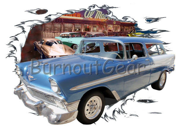 1956 Blau Chevy Nomad Wagon Custom Hot Rod Diner T-Shirt 56 Muscle Car Tee's