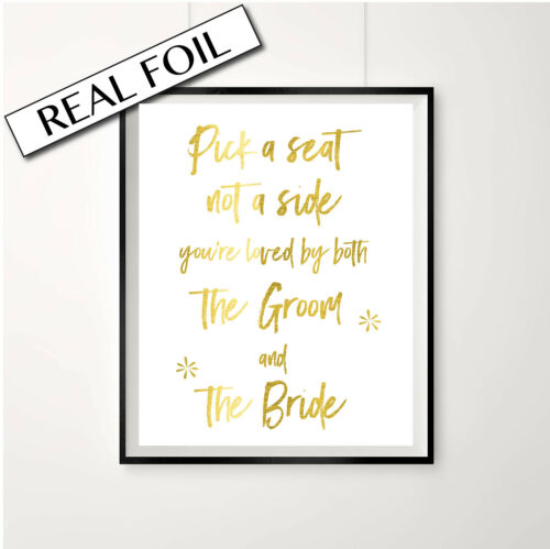 Wedding Seating Plan Sign Pressed Gold Foil Wedding Reception Print Poster
