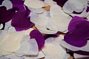 Purple-amp-White-Wedding-Confetti-Love-Hearts-Bio-Degradable-Options-Cones