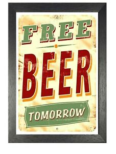 Free-Beer-Tomorrow-Print-Vintage-Retro-Decor-Old-Advert-Poster-Bar-Pub-Party