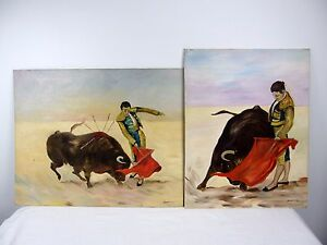 Pair-Bradford-Signed-Original-Acrylic-on-Board-Paintings-Bull-Fighter-Matador