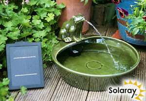 fontaine solaire grenouille en c ramique cascade jardin autonome cologique ebay. Black Bedroom Furniture Sets. Home Design Ideas