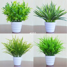 Hot 1X Artificia Plastic Green Grass Plant Flowers Office Home Garden Decoration