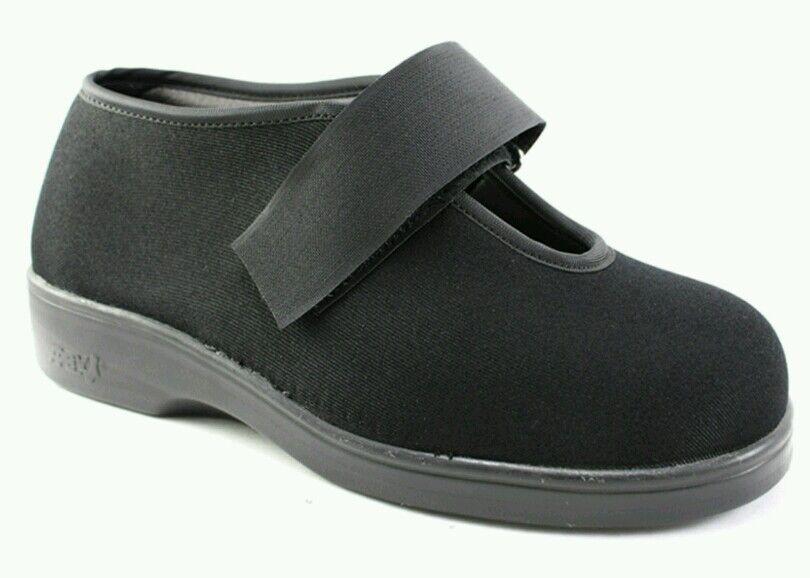 NEW Apex Ambulator Stretchable Men's Single Strap shoes 8.5 9 WIDE Black SPANDEX