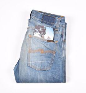 29619 Nudie Jean Slim Jim Original Croustillant Worn en Bleu Homme Taille 31/32