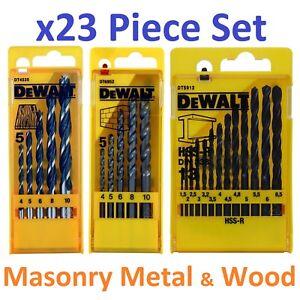 DeWALT-Multi-Purpose-Drill-Bit-Set-HSS-R-Metal-Masonry-Wood-x23-Piece-Brand-New