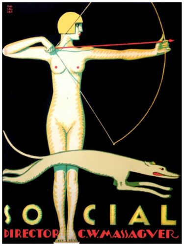 6030.Social.woman with bow and arrow.greyhound running.POSTER.Home Office art