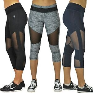 Women's Mesh Capri Leggings Sports Gym Yoga Jogging Running ...