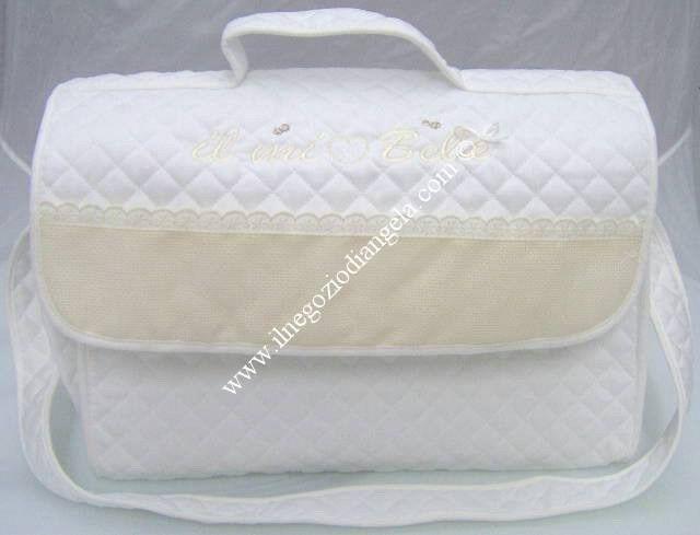 Borsa nursery portatutto per neonato con tela aida x ricamo a  punto croce