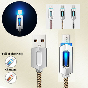 Nylon-Braided-Luminous-Micro-USB-Fast-Data-Sync-Charger-Charging-Cable-Cord-Lot