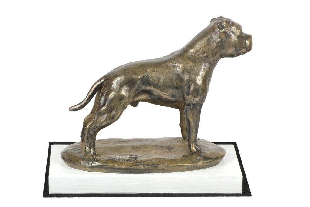 Staffy type 2 - figurine made of Bronze on the Weiß wooden base, Art Dog