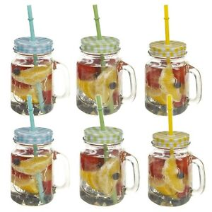 EGT 500Ml Glass Drinking Cup With Handle /& Straw Glasses Mason Jar Colour Lids Retro