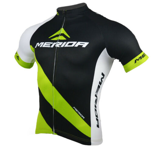 Merida Men/'s Cycle Bicycle Jersey Shirt Cycling Wear Top Reflective Black-Green