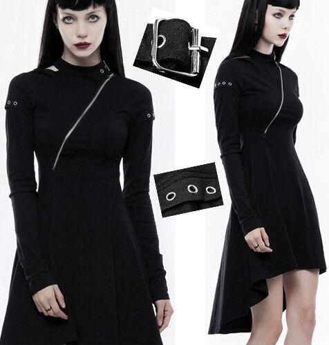 Robe asymétrique gothique punk lolita fashion zippé traîne collier dark Punkrave