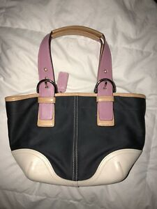 Image Is Loading Coach 9509 Hampton Small Tote Black Canvas Pink