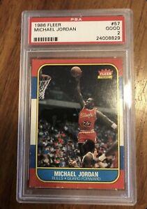 1986 FLEER BASKETBALL #57 MICHAEL JORDAN ROOKIE BULLS PSA 2