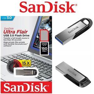 USB Drive 3.0 32GB 64GB 128GB 16GB SanDisk Ultra Flair CZ73 Flash Drive Memory