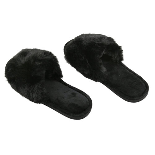Black 1 Pair Faux Fur Soft Slipper Polyester Comfort Use in House Ladies Women
