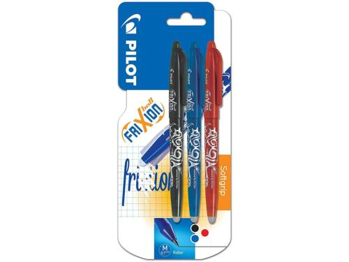 3 Pack Pilot Frixion Erasable Rollerball 0.7 mm Tip Black//Red//Blue,