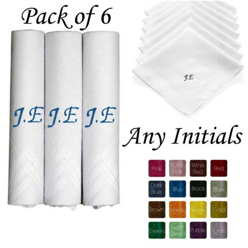 6 x 100/% COTTON EMBROIDERED PERSONALISED HANDKERCHIEF INITIALS GIFT MEN/'S LADIES