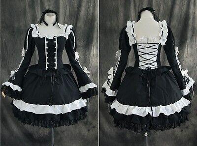 M-3108 schwarz black Gothic Lolita Cosplay Kleid dress Kostüm costume n. Maß