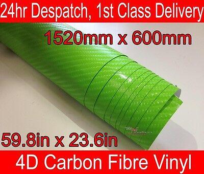 4D Carbon Fibre Vinyl Wrap Film Sheet LIME GREEN 600mm(23.6in) x 1520mm(59.8in)