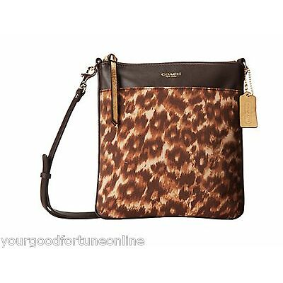 NWT COACH SWINGPACK Crossbody OCELOT Leopard Animal Brown Ivory 52104 Madison