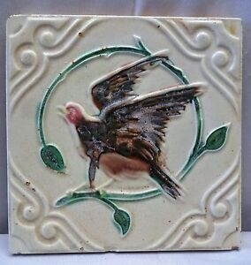 ANTIQUE-TILE-FALCON-IMAGE-ARCHITECTURE-COLLECTIBLES-MADE-IN-JAPAN-VINTAGE-TILE