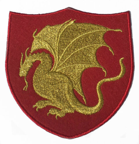 4 Inch Velvet Embroidery Iron//Sew on Badge Emblem King Arthur Dragon Patch