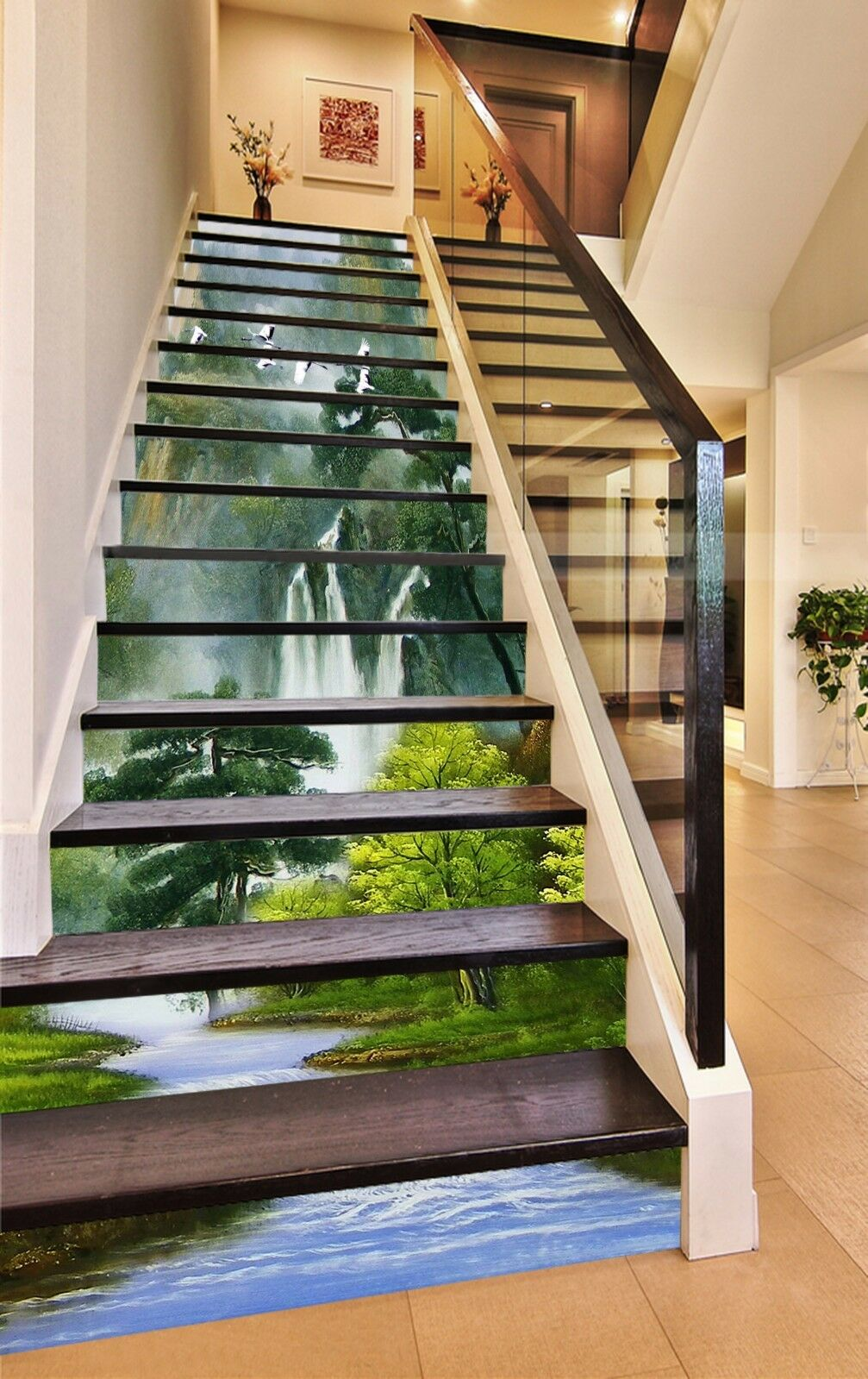 3D Forest Painting 8Stair Risers Decoration Photo Mural Vinyl Decal Wallpaper AU