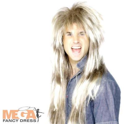 80s Gigante Muggine Parrucca Da Uomo Costume Rock Pop Star Celebrità Costume Accessorio-mostra Il Titolo Originale