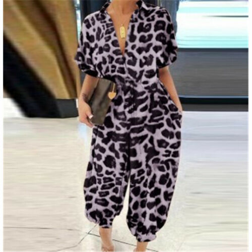 Hot Women Jumpsuit Short Sleeve Pant Button Casual Loose Harem Romper Trousers