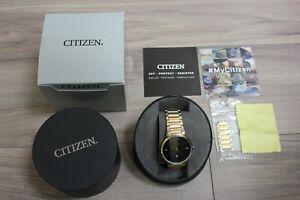 Citizen-Gold-Tone-Black-Face-St-Steel-men-039-s-watch